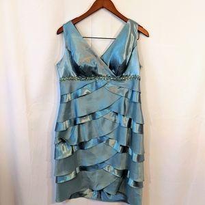 Blue-Green Jessica Howard tiered sleeveless dress